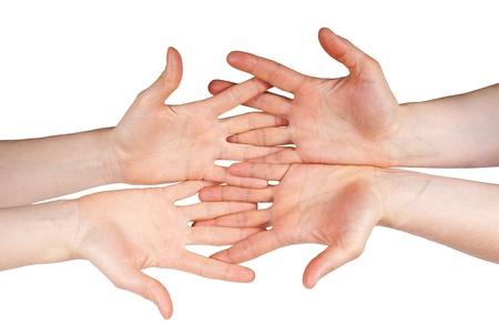scrying: four hands symbolizing team and support, isolated Stock Photo