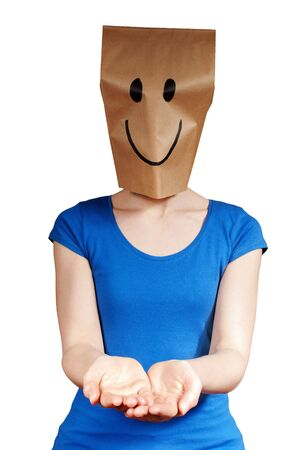 a person with a smiling mask holding up hands with copyspace, isolated photo
