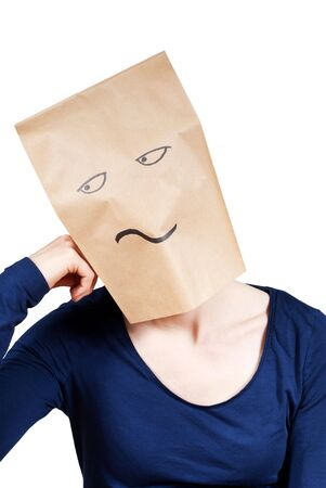 ennui: a person with a paper bag head symbolizing boredom, isolated