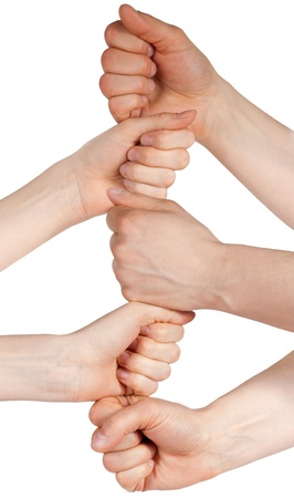 a tower build of five hands symbolizing unity and power, isolated photo