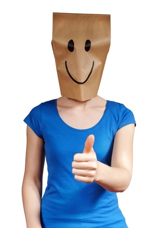 masquerading: person symbolizes happiness with thumbs up and smiley in face