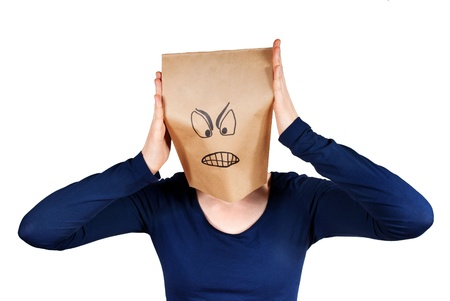 angriness: a angry person with a paper bag had