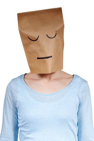 a person with a paper bag head looking as if sleeping