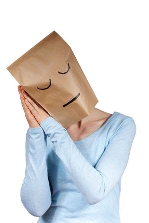 blinder: a person symbolizing sleep with help of a paper bag