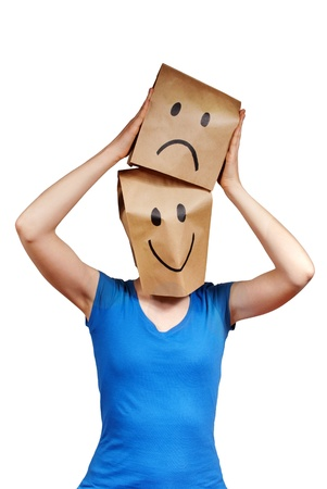 person with paper bag symbolizes changing moods, isolated Stock Photo