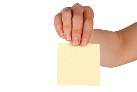 a hand holds a label with copy space on it, isolated photo