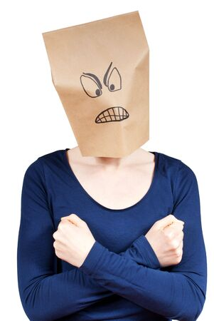 masquerading: a angry looking person in self defence gesture, isolated