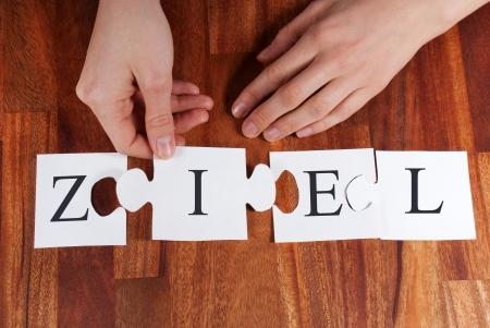 puzzelen: een persoon is puzzelen het Duitse woord ZIEL doel