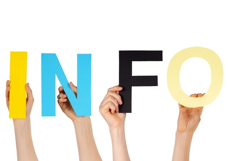 inform: hands holding letters building the word INFO Stock Photo