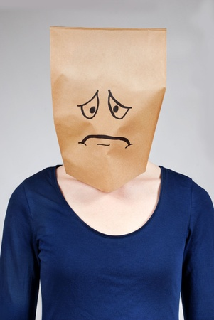 an unhappy or depressed looking person