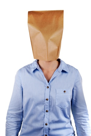 masquerading: a person with paper bag head with copyspace on it, isolated