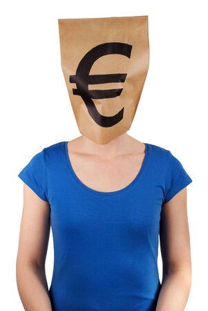 person with a euro sign as head, isolated photo