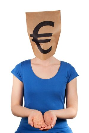 masquerading: a person with a euro sign on a paper bag head holding up its hands, isolated
