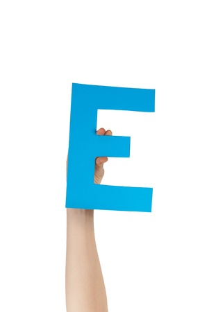 illiterate: the blue letter e, hold by hands, isolated