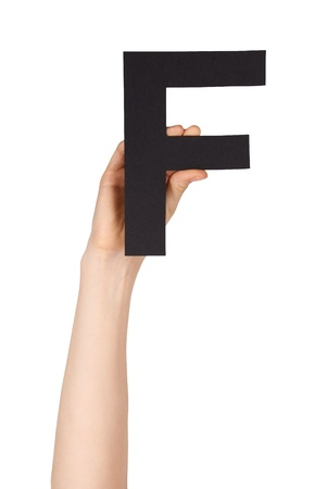 illiterate: the letter F, hold by a hand, isolated