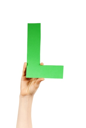 l hand: the letter L, hold by a hand, isolated
