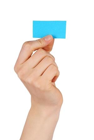 actuality: una mano tiene un trattino blu o una bandiera blu, isolati Archivio Fotografico