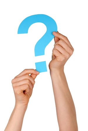 topicality: a blue question mark holding up by two hands, isolated Stock Photo
