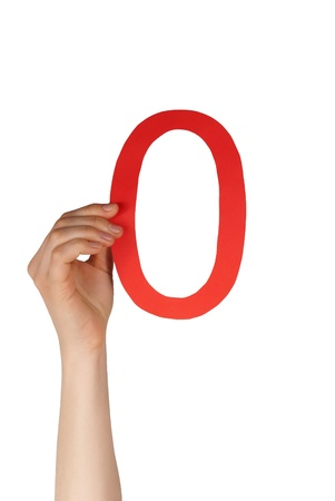 topicality: hand holding up a red number null, isolated