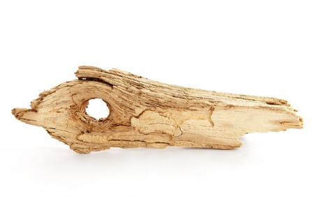 close your eyes: a pice of driftwood on white with copy space as marker tag