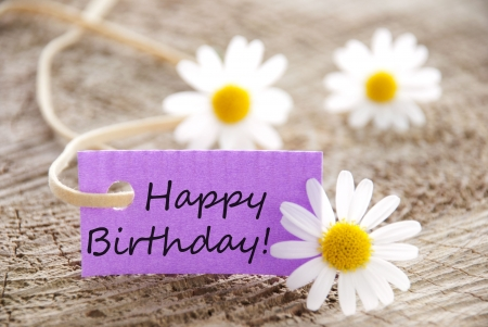 congratulations card: happy birthday written on a purple banner, flowery background