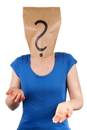 una persona con un signo de interrogaci�n a la cabeza, aislados