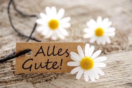een natuurlijk ogende banner het Duitse woorden Alles Gute, w aarin meands beste wensen en witte bloesems als achtergrond