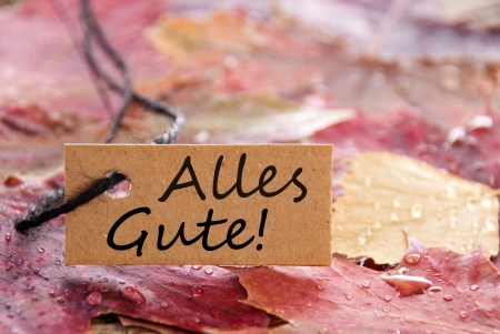 best wishes: a autumn label with the german words Alles Gute on it which means best wishes