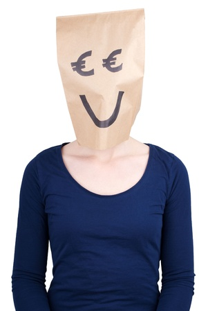 masquerading: a person with a smiling euro paper bag head, isolated