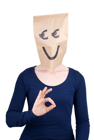 masquerading: a perso with a smiling euro head showing a okey sign, isolated