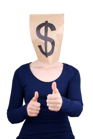 masquerading: a person with paper bag head and dollar sign on it showing thumbs up, isolated Stock Photo