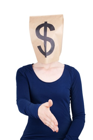a person with a dollar sign on a paper bag head shaking hand, isolated photo