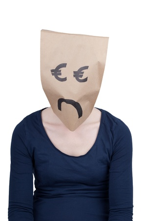 masquerading: a sad looking euro sign head, isolated Stock Photo