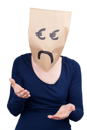 masquerading: a sad and desperate looking euro head, isolated