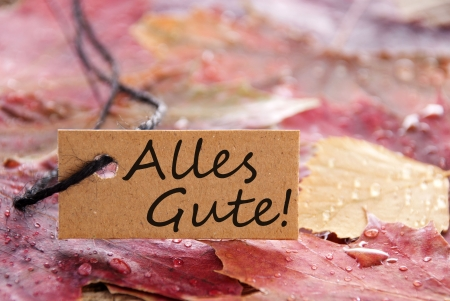best wishes: a brown label with the german words Alles Gute, which meands best wishes and autumn background Stock Photo