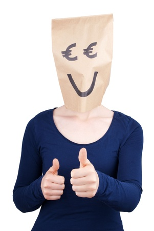 masquerading: a happy smiling person with euro paper bag head showing thumbs up, isolated Stock Photo