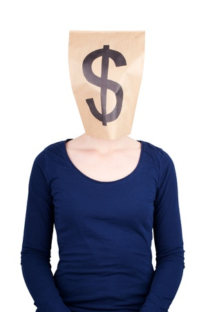 a person with paper bag head and dollar sign on it, isolated photo