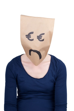 masquerading: person with a sad euro paper bad head, isolated Stock Photo