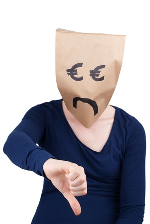 masquerading: sad person with euro paper bag symbol as head showing thumb down, isolated Stock Photo