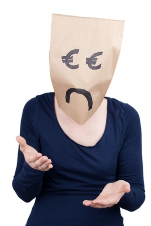 masquerading: a euro head looking sad and desperated, isolted