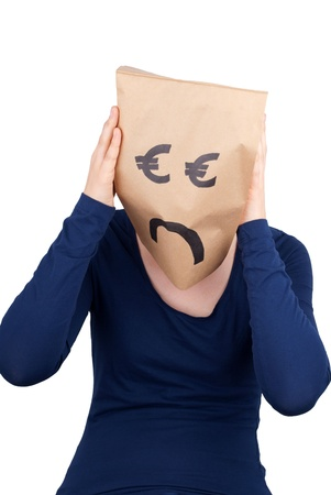 masquerading: a desperate euro paper bag head, isolated Stock Photo
