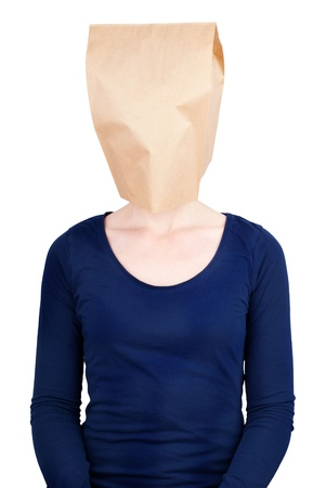masquerading: a person with a blank paper bag head with copy space, isolated