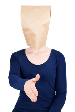 a person with a blank paper bag head in handshaking gesture, isolated photo
