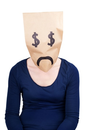 masquerading: a desperate dollar sign paper bag head, isolated