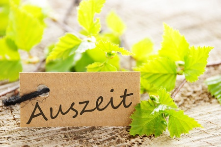 quite time: a natural looking label with green leaves and the german word Auszeit which means downtime and wood as background