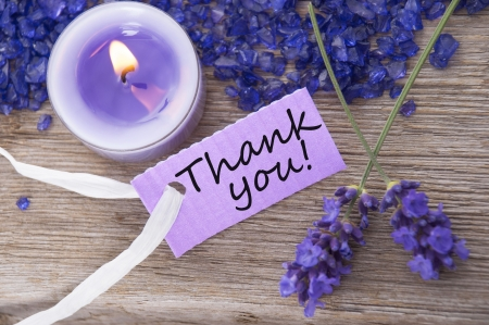 thankfulness: a recreation background with a purple label on which stands thank you Stock Photo