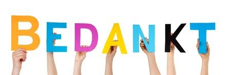 agradecimiento: muchas manos celebraci�n de la palabra holandesa que significa Bedankt gracias