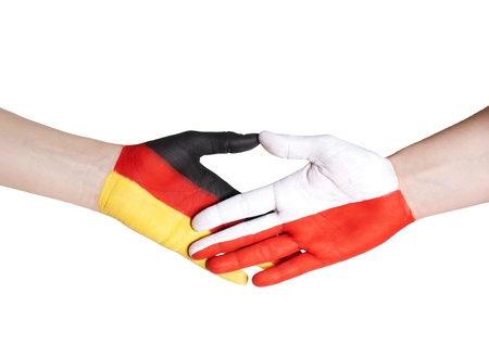 a handshake between germany and poland photo