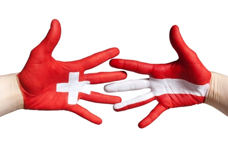 a handshake between switzerland and austria symbolizing partnership photo