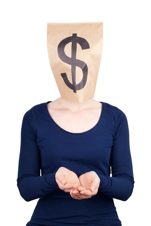 masquerading: a person in begging gesture with a dollar sign as head